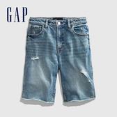 Gap女童做舊風格破洞牛仔短褲575199-淺色水洗