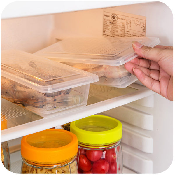 【TT】廚房長方形冰箱瀝水保鮮盒塑膠水果盒子食品密封冷凍收納盒