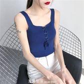 吊帶背心女外穿春夏款2019新款內搭無袖吊帶衫短款修身針織打底衫 「米蘭街頭」