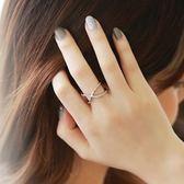 戒指 925純銀 鑲鑽-交叉設計生日情人節禮物女開口戒3色73dv35【時尚巴黎】