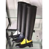 長靴-舒適低跟時尚撞色真皮騎士女過膝靴4色71ab35[巴黎精品]