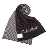 CalvinKlein CK雙拼色條紋圍巾(酒紅色)103214-3