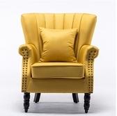 美式單人沙發小戶型布藝沙發椅子臥室客廳復古實木小沙發老虎椅