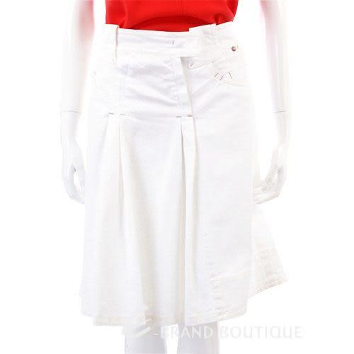 SPORTMAX 白色抓褶及膝裙 0730331-20