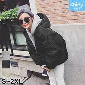 【V2590】shiny藍格子-暖暖冬日.素面保暖拉鍊舖棉連帽外套