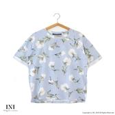 【INI】週慶限定、溫柔配色花樣上衣.水藍色