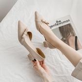 女士高更鞋 女鞋2020新款春季百搭中跟粗跟春款尖頭高跟鞋子ins潮春秋單鞋女【快速出貨】