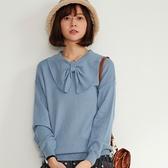 【慢。生活】蝴蝶結領造型針織衫 9823 FREE藍色