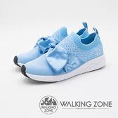 WALKING ZONE Daymark天痕戶外W系列 (夢幻緞帶蝴蝶結) 飛線編織 女鞋-淺藍(另有黑、深藍、粉)