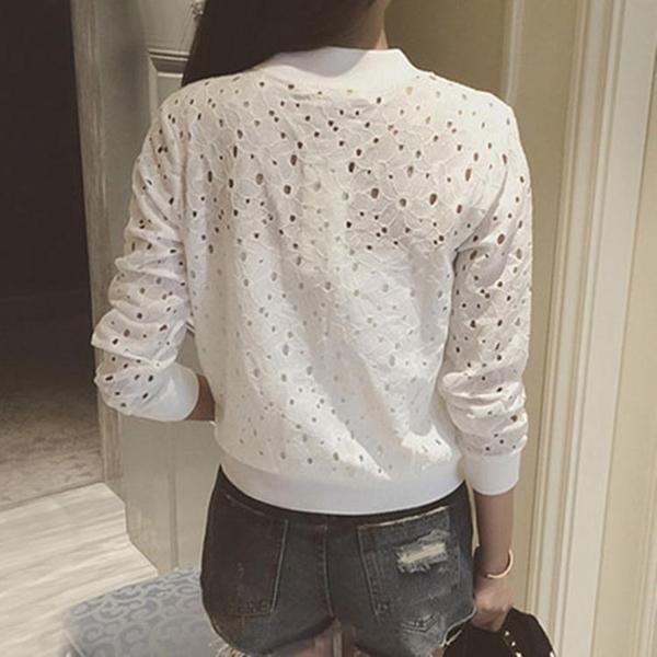 防曬外套 新款薄款開衫蕾絲小外套鏤空拉鏈短款外套女夏裝防曬衫棒球服學生