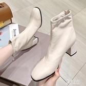 粗跟短靴女2019春秋新款百搭時尚高跟及踝靴英倫風馬丁靴 XN7307【彩虹之家】