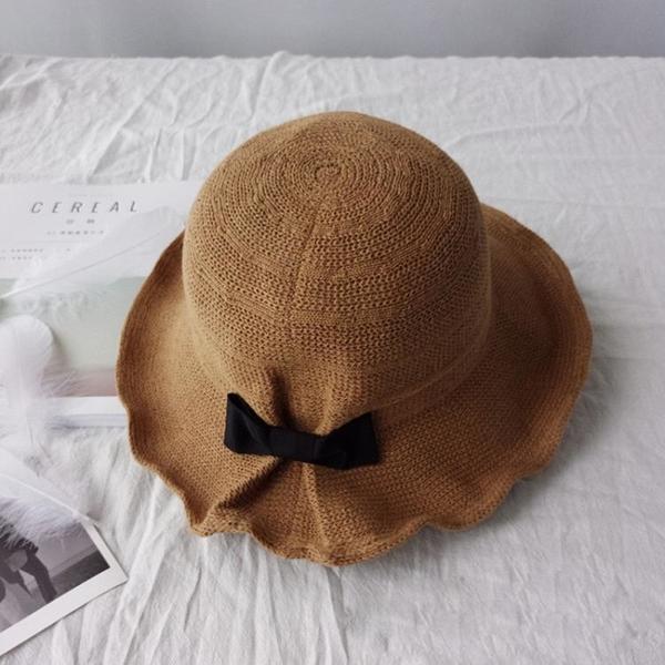 春夏沙灘出游蝴蝶結棉麻遮陽帽韓版百搭優雅氣質可折疊防曬漁夫帽1入