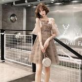 連衣裙法式小晚禮服裙女平時可穿名媛短款小香風洋裝宴會氣質主持 全館免運 快速出貨