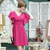 88002-S名媛蝙蝠袖修身顯瘦短袖連衣裙洋裝~美之札