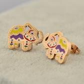 玫瑰金 純銀耳環(耳針式)-彩色小象可愛流行生日聖誕節交換禮物女飾品71at12【巴黎精品】