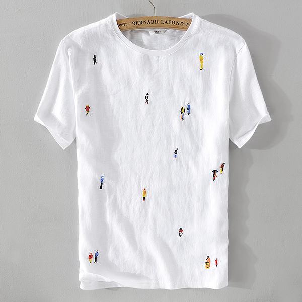 亞麻T恤-卡通刺繡白色棉麻短袖男上衣73xf9[巴黎精品]