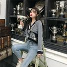 VK精品服飾 韓系撞色小香風針織衫女款修身單品外套