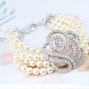 鏤空滿鑽玫瑰花珍珠手鏈-1092