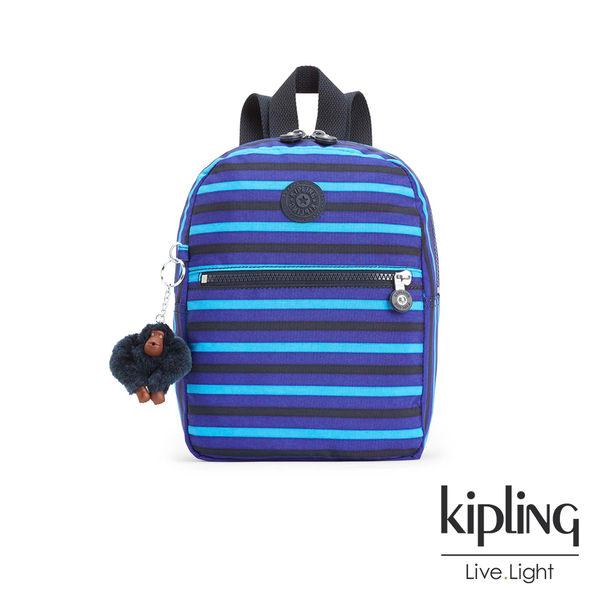 Kipling 藍黑條紋印花後背包-小