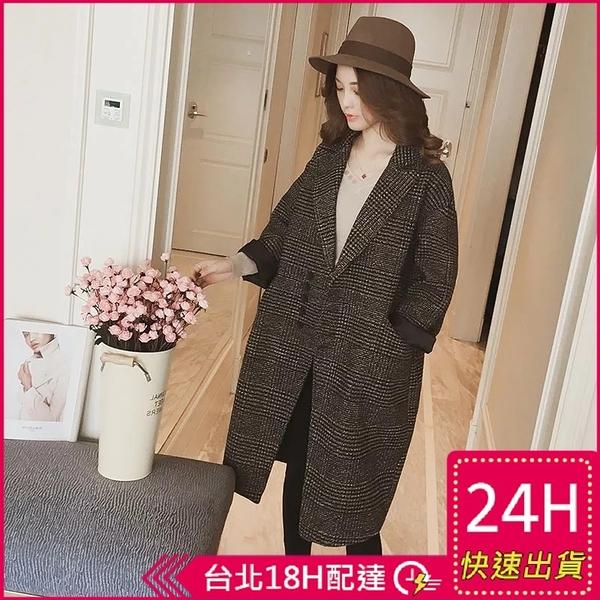 【現貨】梨卡-秋冬季學院風中長版保暖格子大衣外套-修身百搭西裝領毛呢大衣BR1024