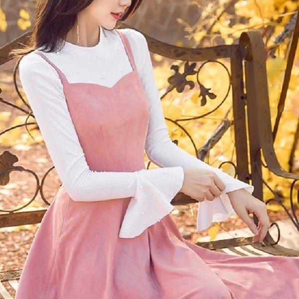 小三衣藏 98629-QF圓領釘珠浪漫荷葉袖長袖針織上衣~秋裝新款~