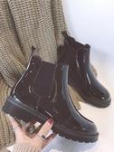 圓頭馬丁靴短靴女春秋季厚底短筒單靴平底切爾西靴機車靴子潮【快速出貨】