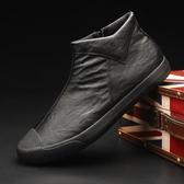 男短靴 男靴子 高幫鞋韓版潮流側拉鏈百搭秋冬懶人休閒皮鞋板鞋男鞋馬丁靴《印象精品》q2092