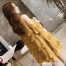 夏裝洋裝洋氣韓版潮辣媽個性娃娃裙蕾絲邊露肩夏天裙子 檸檬衣舍