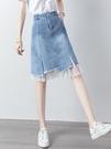 牛仔半身裙2021新款夏季高腰a字裙網紗拼接不規則短裙一步包臀裙 果果輕時尚