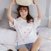 睡衣女夏季純棉短袖兩件套夏天女士薄款學生寬鬆可外穿家居服套裝 東京衣秀