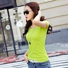 88柑仔店---韓版白色純棉圓領T恤女短袖夏新純色修身半袖上衣體恤打底衫t恤  (A0539)