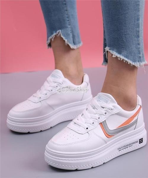 小白鞋女2010新款透氣百搭厚底內增高休閒板鞋女鬆糕鞋皮 母親節特惠