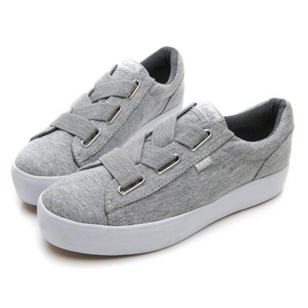 Keds TRIPLE CROSS 女款灰色彈性鞋帶厚底休閒鞋-NO.9184W132585