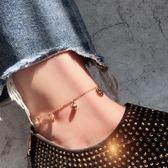 玫瑰金經典銅錢鈦鋼包金腳鍊防過敏不掉色