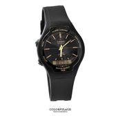 CASIO日本卡西歐手錶 時尚金色指針刻度雙顯示膠錶  防水50米【NE1434】原廠公司貨