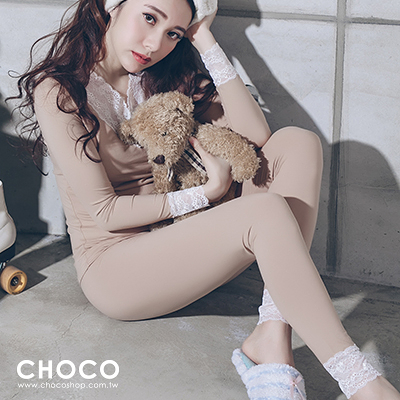 Choco Shop-美好時光‧純棉舒適成套睡衣(膚色) L-XL Size