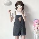 吊帶短褲 少女可愛小熊刺繡牛仔背帶短褲女夏季2021新款軟妹學生連體闊腿褲 韓國時尚 618