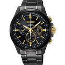 【送輕量背包】SEIKO精工 Criteria 玩酷太陽能計時手錶-鍍黑/42mm V175-0ER0G(SSC687P1)
