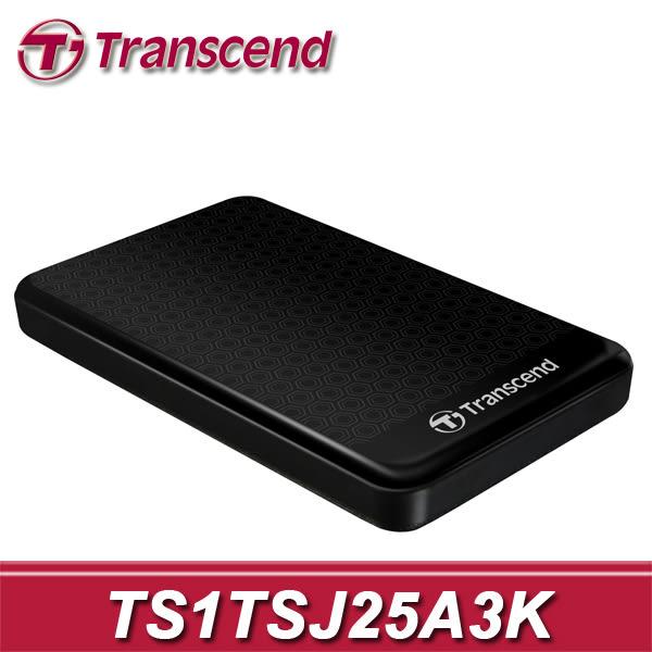 【免運費】Transcend 創見 StoreJet 25A3 黑色花紋 1TB USB3.0 2.5吋 防震行動硬碟 (TS1TSJ25A3K) 1T