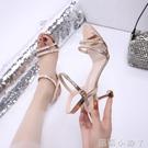 水鑚涼鞋女仙女風2021年夏季新款中跟露趾一字扣帶高跟鞋細跟小碼 蘿莉新品