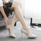 高跟鞋春季33碼尖頭單鞋米白色細跟女鞋婚鞋伴娘鞋小碼貓跟鞋 愛麗絲精品