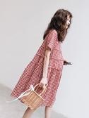 完封高麗菜孕婦連身裙 孕婦夏裝裙子連身裙新款時尚紅色格子裙春夏季仙女超仙時尚款