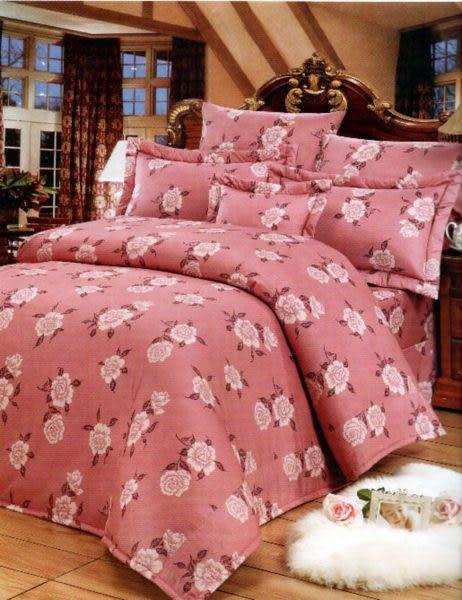 玫瑰-紫、100% 精梳棉 【床包6X6.2尺/枕套X2/雙人鋪棉被套】4件組 台灣製