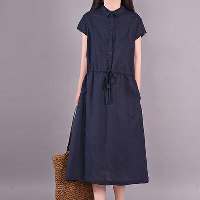 涼感棉麻洋裝~寬版棉麻洋裝長裙~9936#韓版大碼女裝時尚系帶收腰顯瘦氣質純色連身裙2F037愛尚布衣