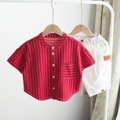 火紅的夏季,男童襯衫短袖個性中小童寶寶上衣兒童棉麻韓版潮童裝