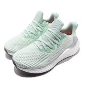 adidas 慢跑鞋 AlphaBOOST W 綠 白 女鞋 Boost 中底 緩震舒適 運動鞋 【ACS】 EH3356