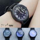 Leisure.V6品牌。橫條紋錶面日曆顯示大數字矽膠錶帶手錶【ta523】*911 SHOP*
