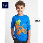 Gap男童 舒適妙趣圖案長袖T恤 156482-寶藍色