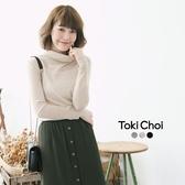 東京著衣-tokicho-純色反褶高領針織上衣-S.M(6021567)