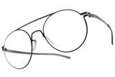 Ic! Berlin 光學眼鏡 HERR VOIGT GRAPHITE (石墨) 俏皮雙槓圓框款 薄鋼眼鏡 # 金橘眼鏡